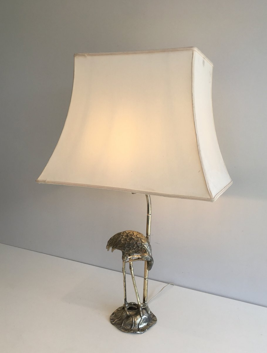 Maison Bagués. Silver Plated Heron Table Lamp. French. Circa 1940-photo-1