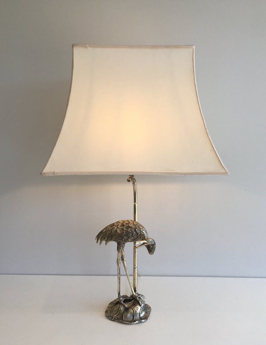 Maison Bagués. Silver Plated Heron Table Lamp. French. Circa 1940-photo-4