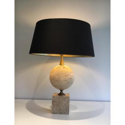 Philippe Barbier. Grande Lampe En Travertin. Vers 1960.