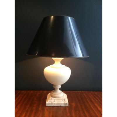 Lampe En Travertin Et Céramique. Vers 1960