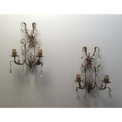 Pair Of Gilded Metal And Crystal Wall Lights. Around 1960