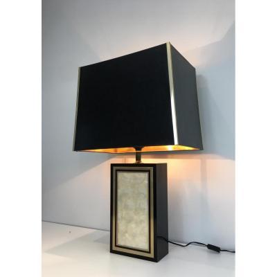 Grande Lampe En Bois Laqué Noir, Dorure Et Nacre