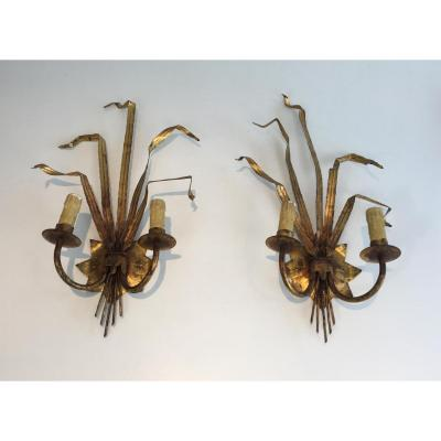 Pair Of Walls Ears Wheat Gold Metal. Around 1960