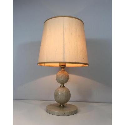 Travertin And Brass Table Lamp. Circa 1970
