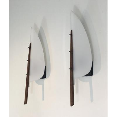 Unusual Plastic And Wood Leaves Design Wall Sconces. French. Circa 1970