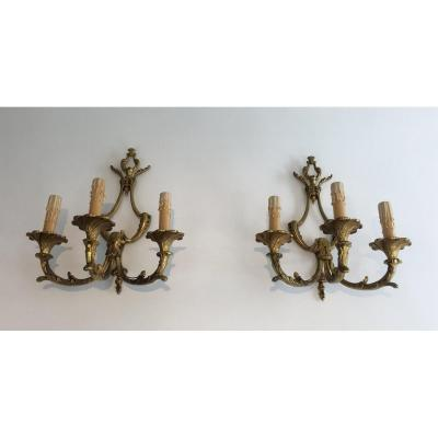 Pair Of Large Louis The 15th Style 3 Lights Bronze Sconces. French. Circa 1960