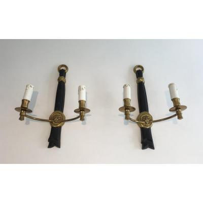 Pair Of Bronze And Black Lacquered Sconces With Lion Heads. French. Circa 1970