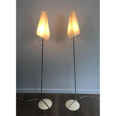 Pair Of Design Floor Lamps In Chrome, With White Lacquered Bases & Design White Plastic Shades