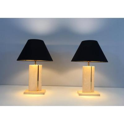 Pair Of Travertine And Brass Table Lamps With Black Shintz Shades Gold Inside. French. Circa 19