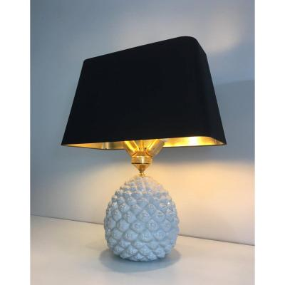 Design Porcelain Pineapple Table Lamp. Italy. Circa 1970