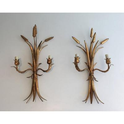Ears Of Wheat Gilt Iron Wall Sconces. French. Circa 1970