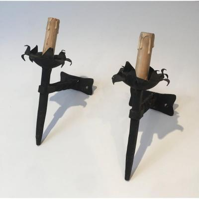 Pair Of Wrought Iron Sconces. French. Circa 1940