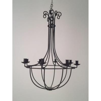 Large Cage Wrought Iron Chandelier. French. Circa 1970