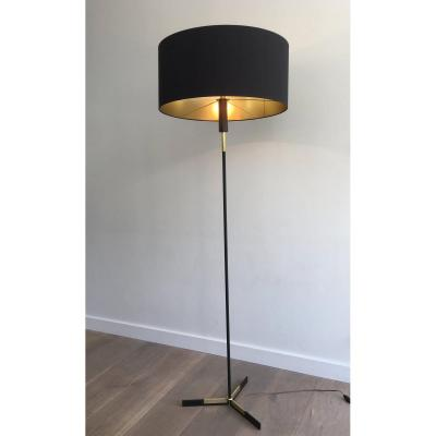 Black Lacquered And Brass Design Floor Lamp. French. Circa 1950