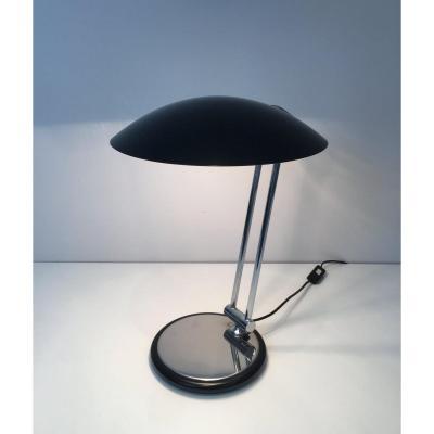 Design Adjustable Chrome And Black Lacquered Desk Lamp. Circa 1970