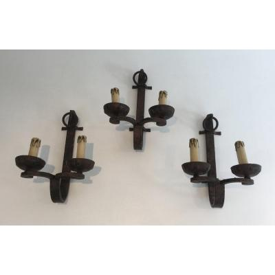 Set Of 3 Wrought Iron Sconces. French. Circa 1950. Can Also Be Sold Per Unit Or As A Pair