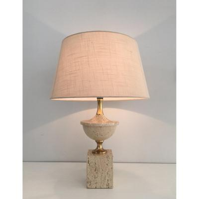 Philippe Barbier. Travertine And Gilt Metal Baluster Table Lamp. French. Circa 1970