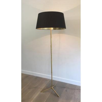 Neoclassical Style Faux-bamboo Brass Floor Lamp. French. Circa 1970
