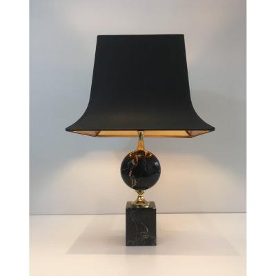 Philippe Barbier. Black Marble and Gilt Metal Table Lamp. Vers 1970