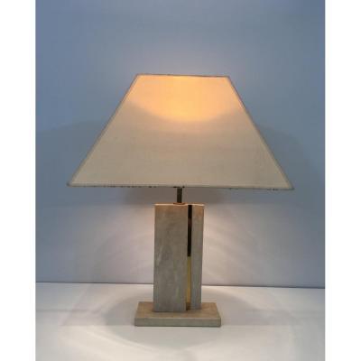 Lampe En Travertin Et Laiton à Abat-jours d'Origine. Vers 1970