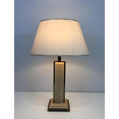 Lampe En Travertin Et Chrome Doré. Travail Français. Vers 1970