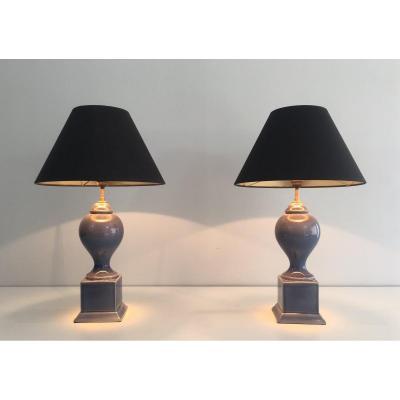 Paire De Lampes Balustres En Céramique Bleue. Travail Français. Vers 1970