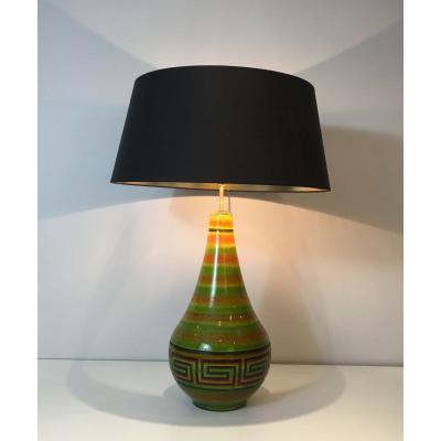 Lampe En Céramique à Décor De Clés Grecques. Travail Français. Vers 1970