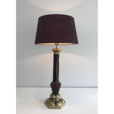 Attributed To Cristal & Bronze Paris. Tall Red Crystal And Chiseled Bronze Table Lamp. French.