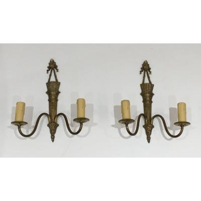 Pair Of Louis The 16th Style Bronze Wall Lights  With Quiver And Ribbons. French