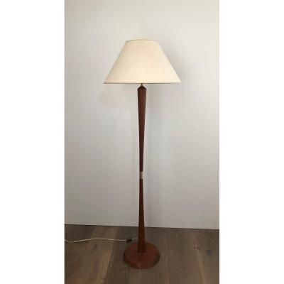 Exotic Wood And Brass Floor Lamp. French. Circa 1970