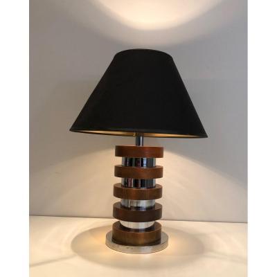 Lampe Constituée De Cercles De Bois Et Chrome. Travail Français. Vers 1970