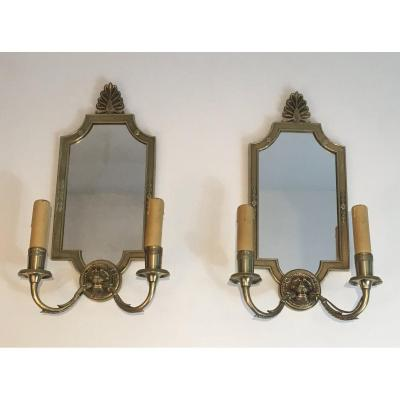 Pair Of Empire Style Bronze Wall Sconces With Lion Heads And Mirror. French. Circa 1940