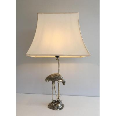 Maison Bagués. Silver Plated Heron Table Lamp. French. Circa 1940