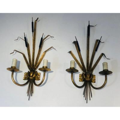 In The Style Of Coco Chanel. Pair Of Gilt Iron Wheat Ears Wall Lights. French. Circa 1970