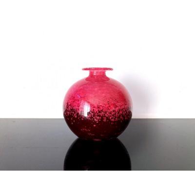 Vase boule Art Deco Charles Schneider. Le Verre Français.