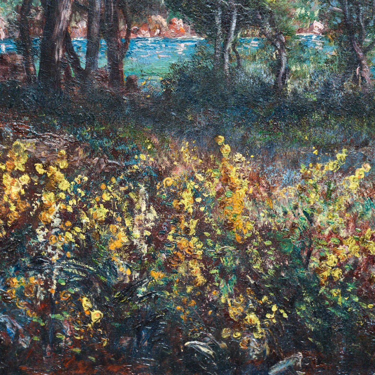 """""""marina In Provence"""" - Oil On Canvas Early 1900s-photo-4"""