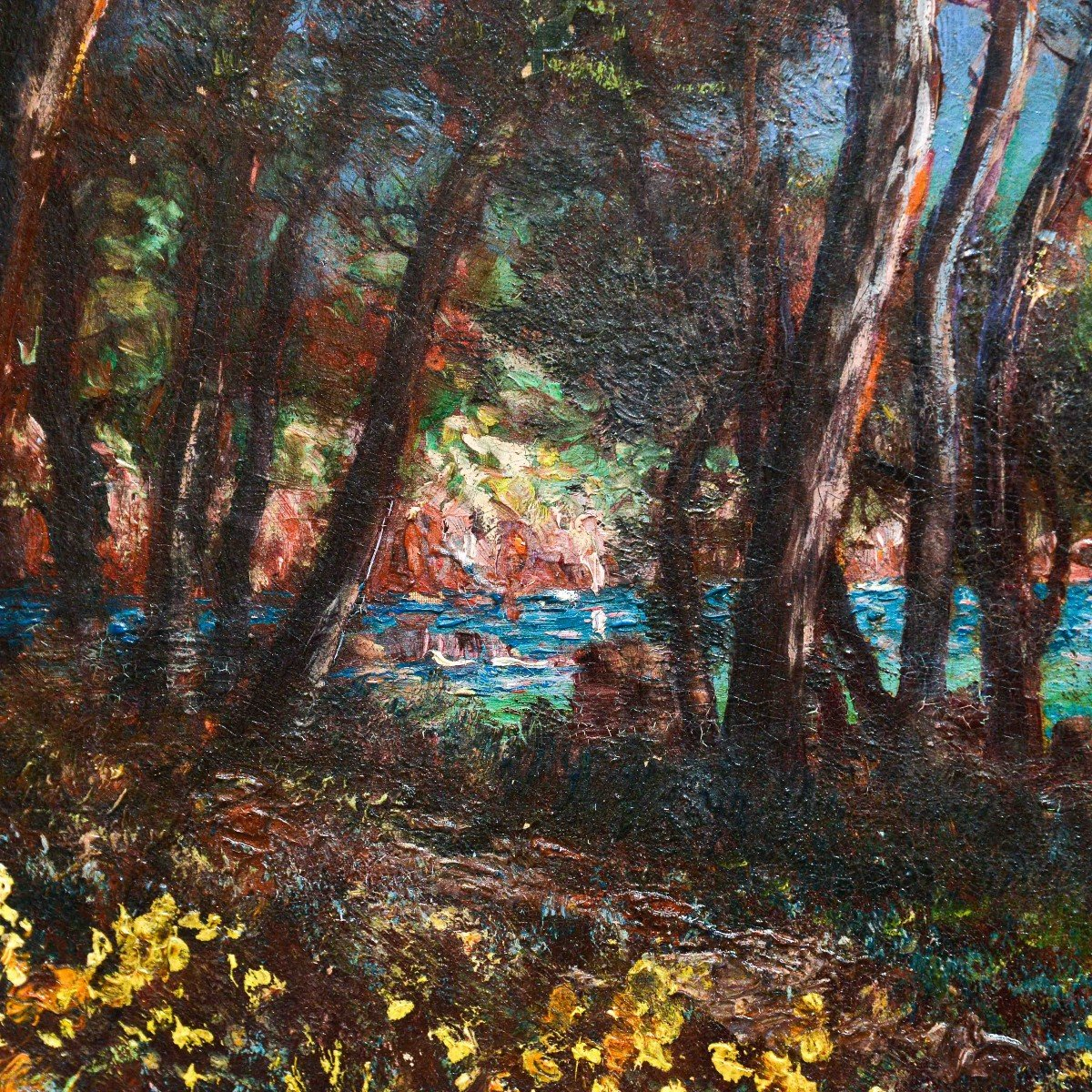 """""""marina In Provence"""" - Oil On Canvas Early 1900s-photo-1"""