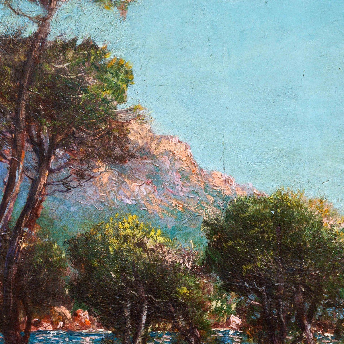 """""""marina In Provence"""" - Oil On Canvas Early 1900s-photo-2"""