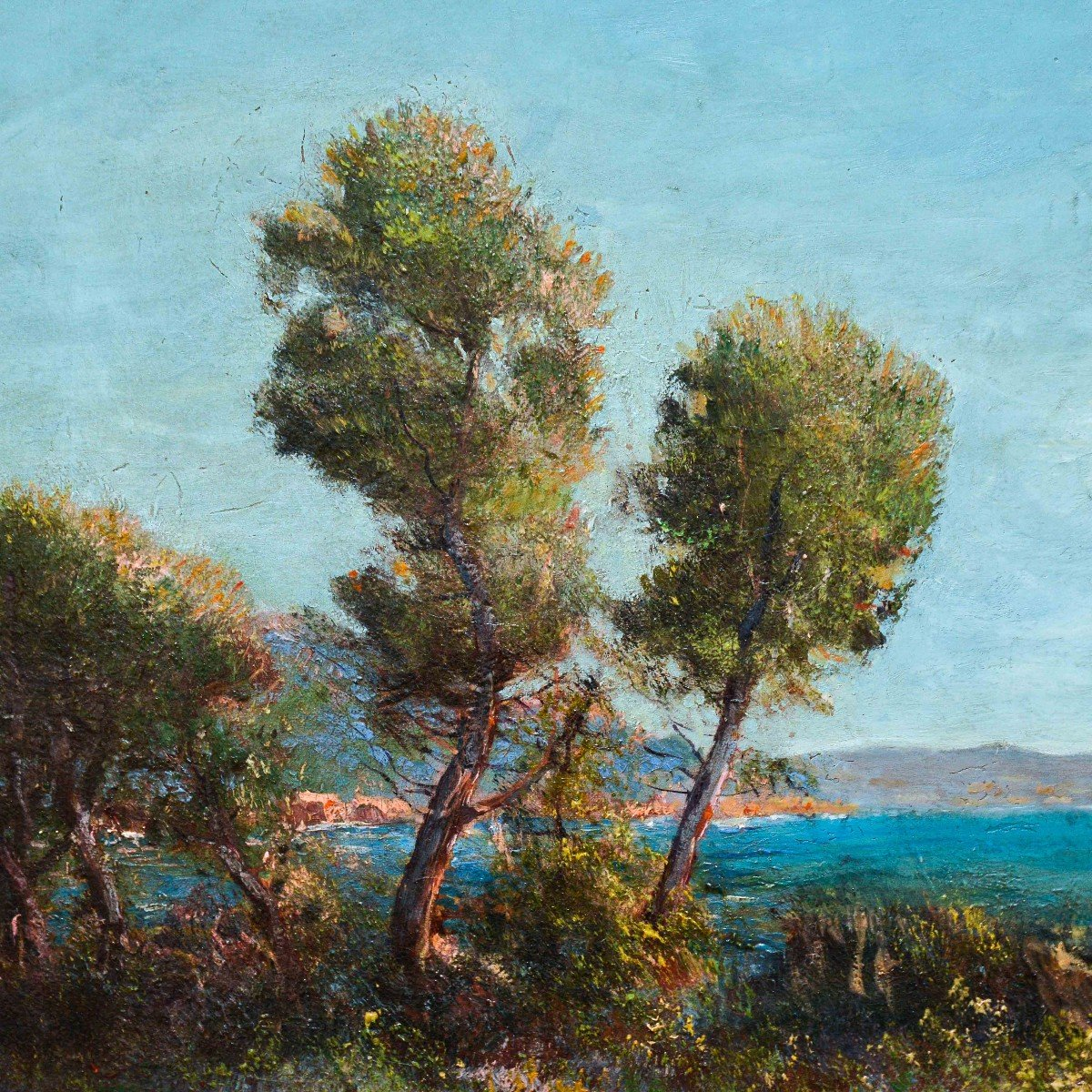"""""""marina In Provence"""" - Oil On Canvas Early 1900s-photo-3"""