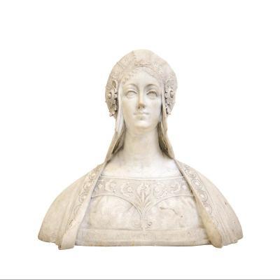 Noble Dame Florentine, Ancien Marbre Italien De La Seconde Moitié Du XIXe Siècle