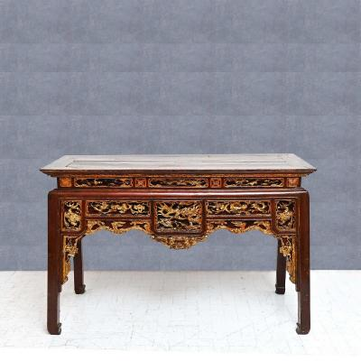 Chinese Console Table Decorated In Wood