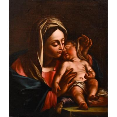 """""""madonna With Child"""" Oil On Canvas Of The '600 /' 700"""