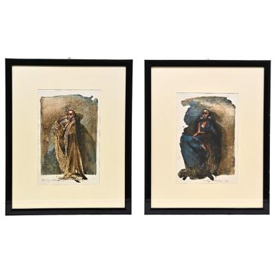 Portraits, Pair Of Gouaches By Philippe Garel