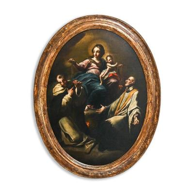 Madonna With Child And Saints, Oval Painted On Canvas
