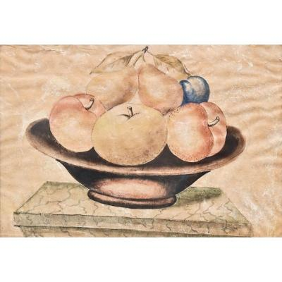 """""""still Life With Fruits"""" Painting On Parchment In The Style Of Octavianus Monfort, 19th Century"""
