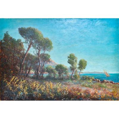 """""""marina In Provence"""" - Oil On Canvas Early 1900s"""