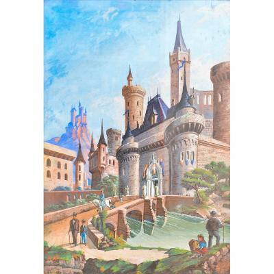 Painting depicting a fairytale landscape with a castle and characters, probably of French origin, mixed media on paper, watercolor and tempera. Dating from the late 1800s<br /> <br /> Measurements: H 103.5 x W 74 x D 3.5 / Painting H 96 x W 66 cm<br /> &nbsp;