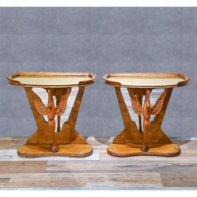 Pair Of Vintage Shaped Consoles / Bedside Tables, 1950s