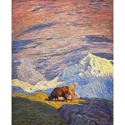 """""""Pâturage en haute montagne"""" Huile sur toile par C. Maggi"""