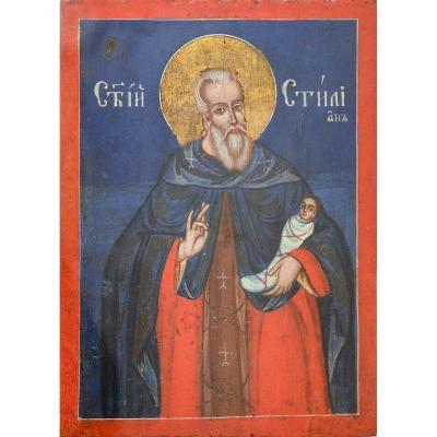 """saint Stiliano From Paflagonia"" - Greek Orthodox Icon Oil On Wood"